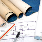 graphic of blueprints and other planning documents for construction project